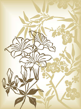 abstract lily flowers background Illustration