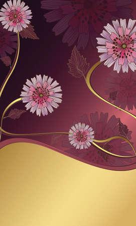 golden daisy: flores p�rpura Vectores