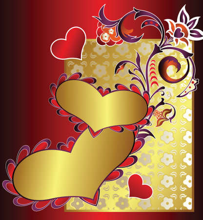 heart shape and floral Vector
