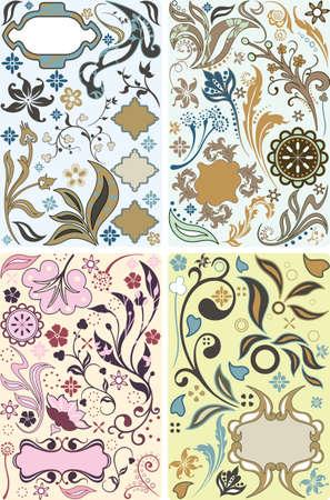floral design elements set Illustration