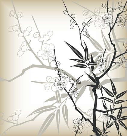 cerisier fleur: asia style des cerisiers en fleur Illustration