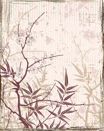japanese floral background Stock Vector - 4386709