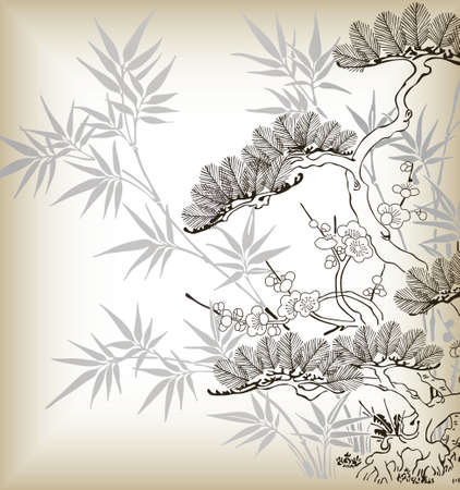 japanese style tree and bamboo pattern Vector