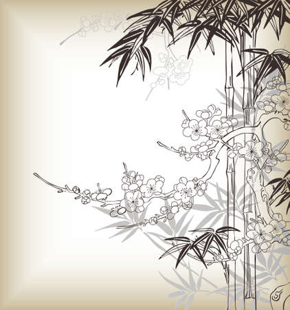 japanese style tree and bamboo pattern