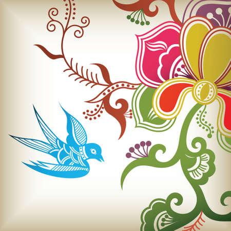 swallow: bloemen en slikken Stock Illustratie