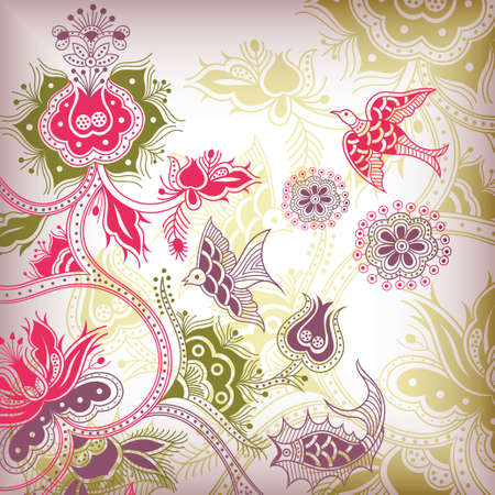 floral and bird Stock Vector - 4557828