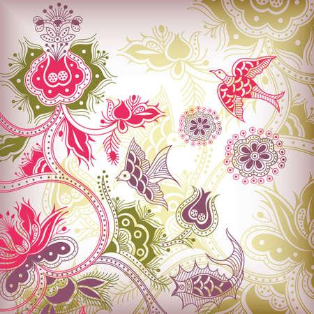 golondrinas: flores y aves