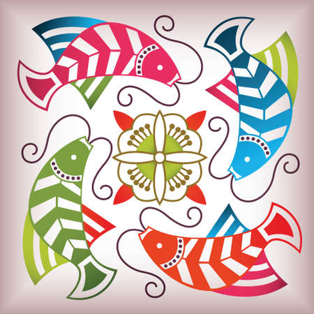 lucky fish pattern Vector