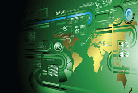 industry background: green abstract technology background Illustration