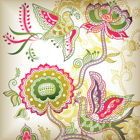 bird pattern: chinese style floral and bird