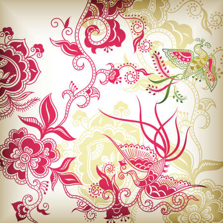 chinese style floral and bird Vector