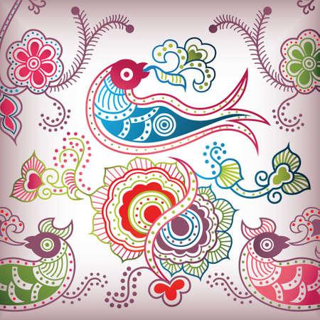 floral abstract bird