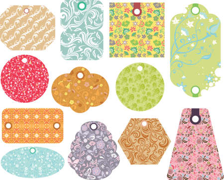 tags with abstract floral pattern Vector