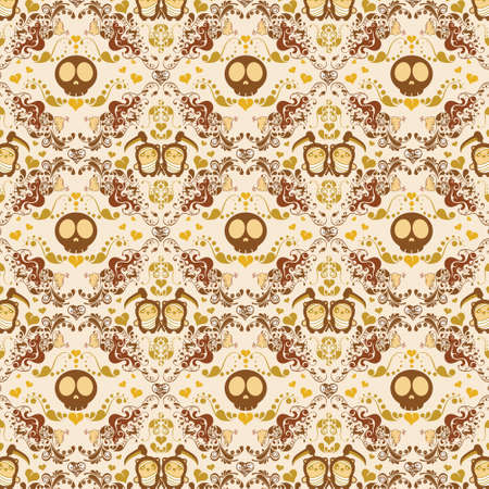abstract skull and panda pattern
