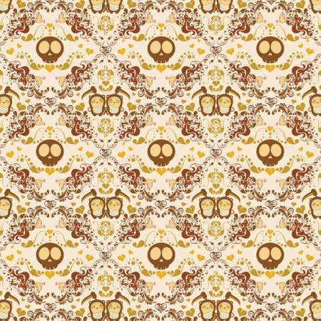 cute skull: abstract skull and panda pattern