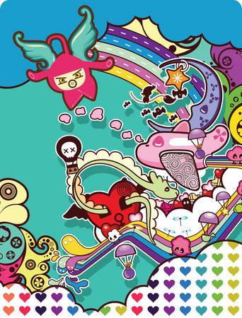 abstract cartoon E Vector