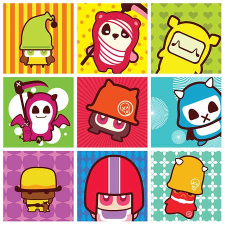 pattern monster: funky cartoon icons Illustration
