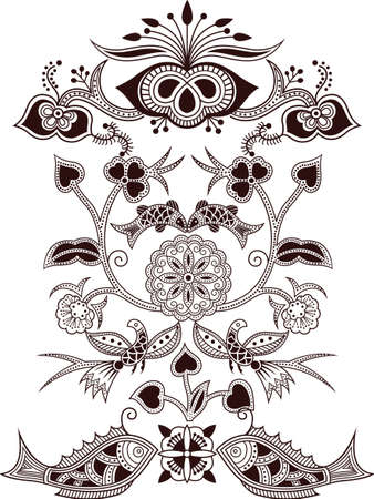 floral vector: Floral Abstract with bird and fish Illustration