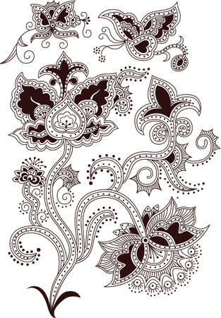 Floral Abstract and Butterfly in Asia Style. Vector