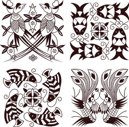 Bird Fish Pattern  Vector