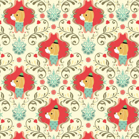Seamless Floral and Animals Pattern K Vector