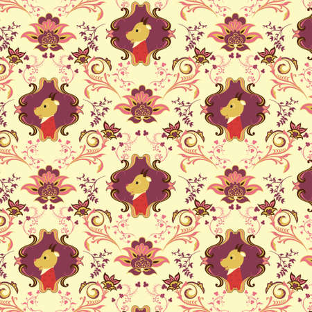 Seamless Floral and Animals Pattern J Stock Vector - 4760692