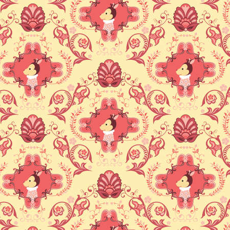Seamless Floral and Animals Pattern G Vector