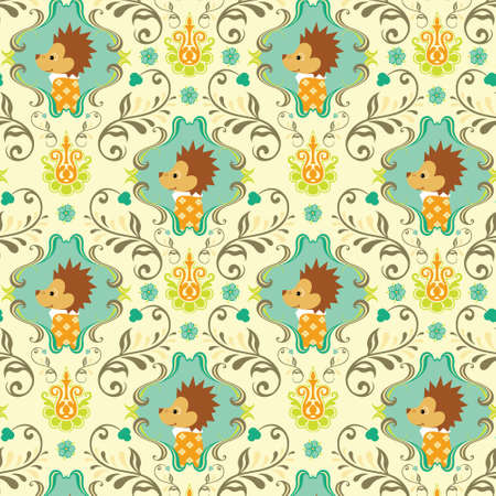 porcupine: Seamless Floral and Animals Pattern E
