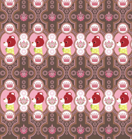 Seamless Floral and Animals Pattern D