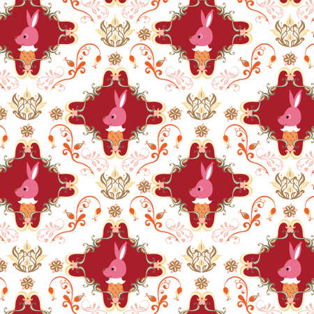 Seamless Floral and Animals Pattern C Stock Vector - 4760691