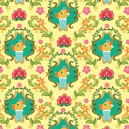 Seamless Floral and Animals Pattern B Vector
