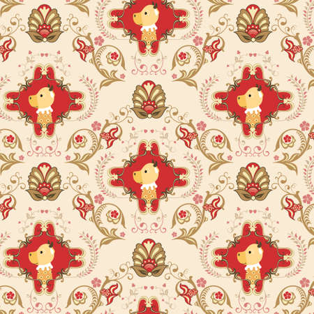 Seamless Floral and Animals Pattern A Vector