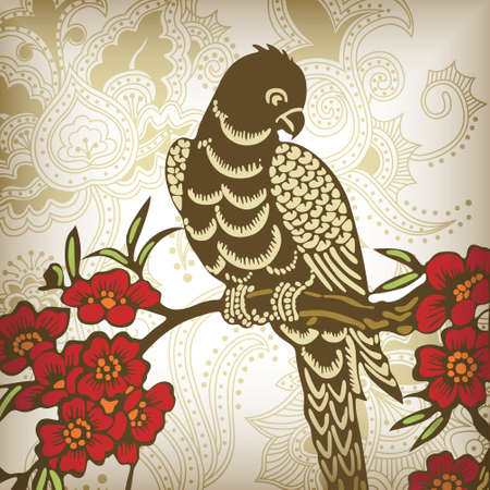 eagle and floral Vector