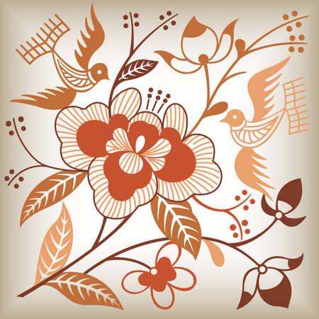 Floral Abstract and Bird Vector