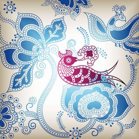 Blue Floral Background with Bird Illusztráció