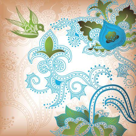 golondrina: Resumen floral con aves