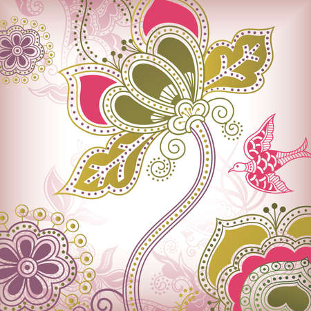Floral Abstract with Bird Vector