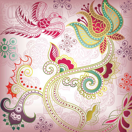 Floral Abstract Background with Bird Vector