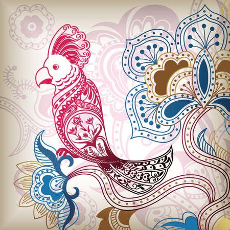 Floral Abstract Tropical Bird Parrot Stock Vector - 5396147
