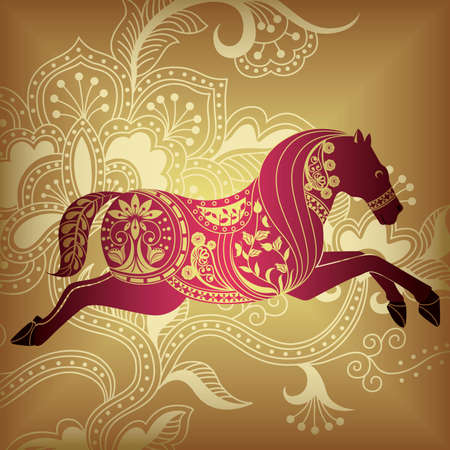 Floral Abstract Horse 1 Vector