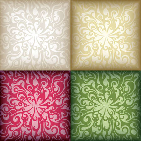 Swirly Floral Pattern Mosaic Background Stock Vector - 5457376