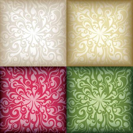 Swirly Floral Pattern Mosaic Background