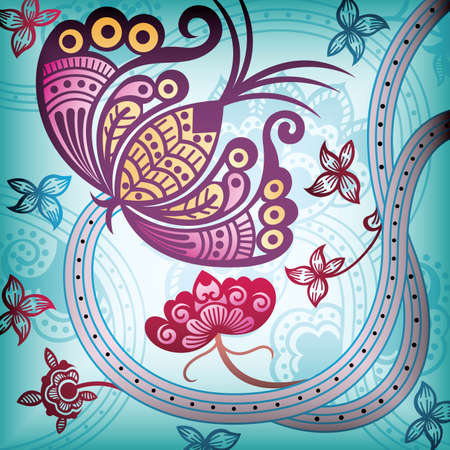 Floral Abstract with Butterfly Vector