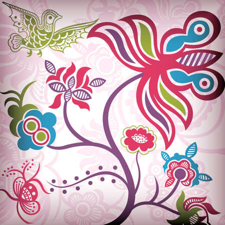 Floral Abstract with Bird Stock Vector - 5457383