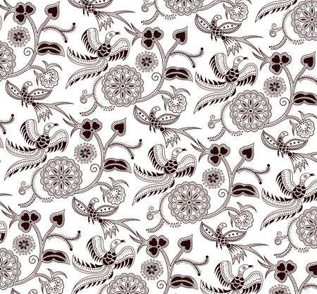 bird pattern: Floral and Bird Pattern Illustration