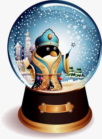 Water Globe Penguin Vector
