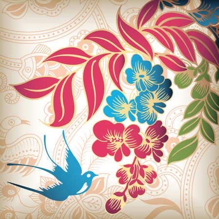 Abstract Floral and Swallow Stock Vector - 5594810
