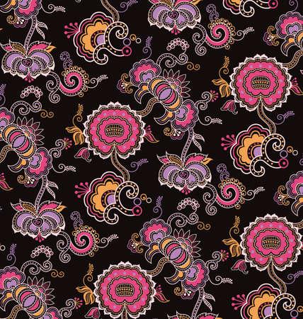 Oriental Floral Pattern Vetores