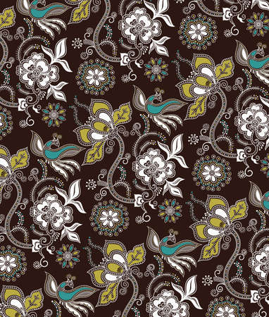 Oriental Floral and Birds Pattern Vector