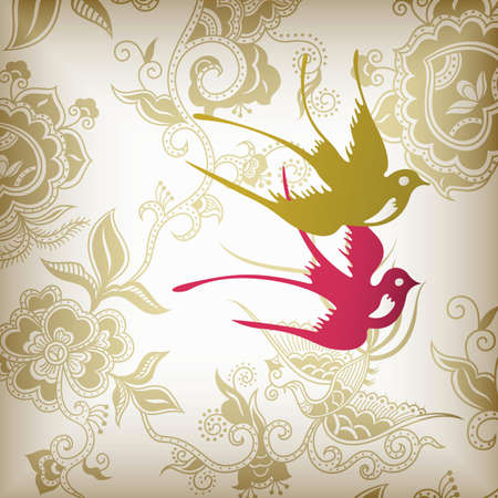Floral and Birds Vector